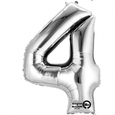 Number 4 Silver Mini Air-Fill Foil Balloon